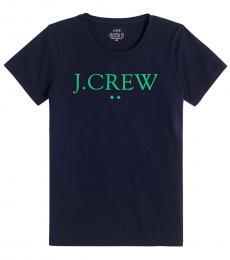 J.Crew Navy Blue Logo Tee