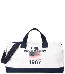 Ralph Lauren White Polo Sport Canvas Duffel Bag