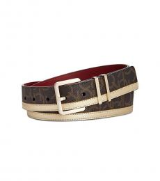 Calvin Klein Gold-Brown Monogram Metallic Belt