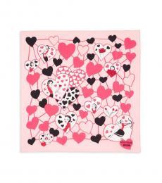 Moschino Pink Printed Logo Scarf