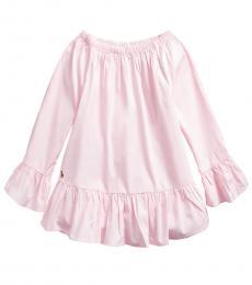 Ralph Lauren Girls Light Pink Oxford Bell-Sleeve Top