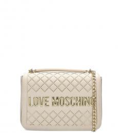 Love Moschino White Studded Medium Shoulder Bag