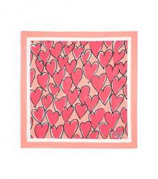 Moschino Pink Printed Silk Scarf