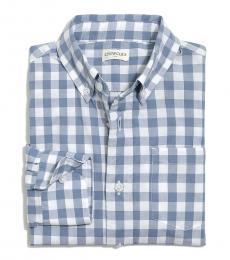 J.Crew Boys Stone Blue White Patterned Shirt