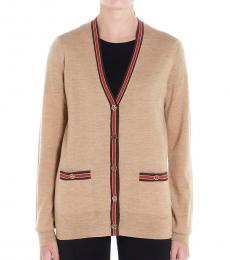 Tory Burch Beige Contrast Piping Cardigan