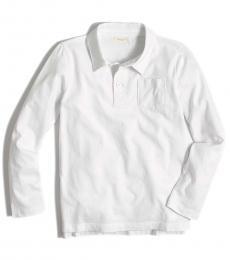 J.Crew Boys White Long Sleeve Polo