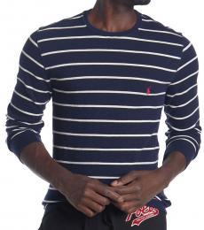 Ralph Lauren Navy Blue Waffle Knit Thin Stripe Sweater