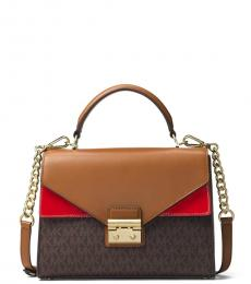 Brown/Red Sloan Double Flap Small Satchel