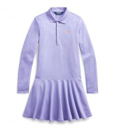Ralph Lauren Girls Light Purple Mesh Polo Dress