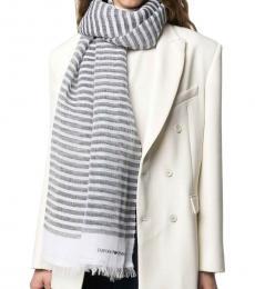 Emporio Armani Grey-White Striped Scarf