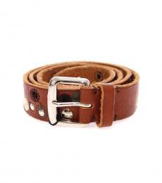 Brown Abstract Logo Belt