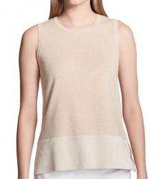 Heather Latte Heathered Sleeveless Sweater