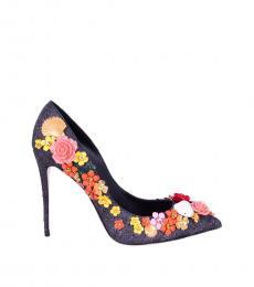Black Floral Embellished Heels