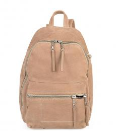 Beige Solid Medium Backpack