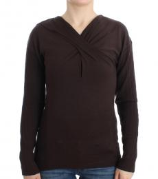 Cavalli Class Brown Knitted Wool Sweater