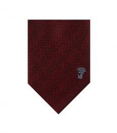 Versace Bordeaux Herringbone Tie