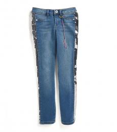 Girls Blue Sequin Panel Jeans