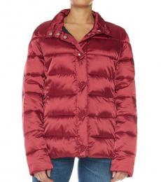 Love Moschino Red Logo Button Puffer Jacket