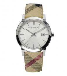 Burberry Beige Heritage Leather Watch