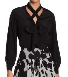 Black Tie Neck Silk Blouse