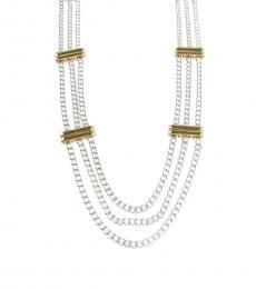 Ralph Lauren Silver-Gold Three Row Chain Necklace