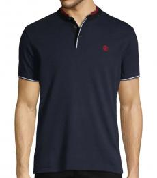 Roberto Cavalli Navy Short-Sleeve Cotton Polo