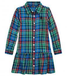 Ralph Lauren Little Girls Blue/Green Plaid Shirtdress