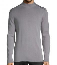 Grey Mockneck Cotton Sweater