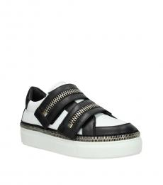 Black White Velcro Closure Sneakers