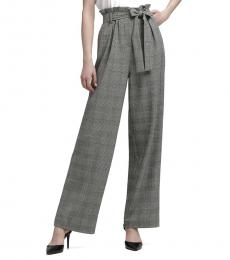 Black Belted High-Rise Plaid Pant