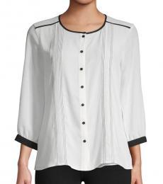 Karl Lagerfeld White Three-Quarter Sleeve Top