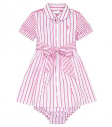Ralph Lauren Baby Girls Pink Striped Dress