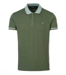 Trussardi Olive Logo Classic Polo