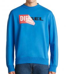 Diesel Turquoise Patched Logo Sweatshirt