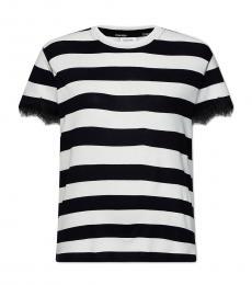 Calvin Klein Black Striped Lace Trim T-Shirt