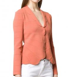 Emporio Armani Salmon Pink Scalloped Hem Fitted Cardigan
