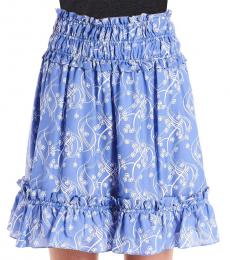 Kenzo Light Blue  Flower Print Ruffled Skirt