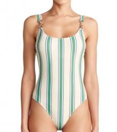 White Striped One-Piece Swimsuit