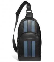 Coach Black Houston Varsity Stripe Large Slingpack