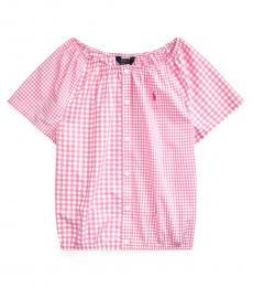 Girls Pink Mixed-Gingham Top