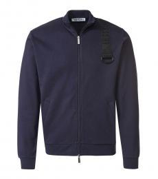 Bikkembergs Dark Blue Logo Shoulder Jacket