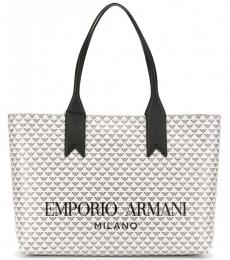 White All Over Logo Large Tote