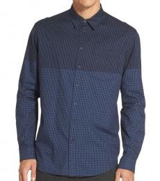 Dark Blue Gingham Checkered Shirt