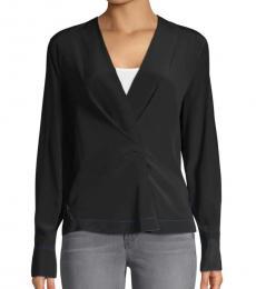 Rag And Bone Black Shields Silk Wrap Shirt