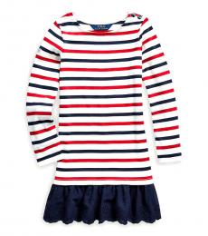 Little Girls Clubhouse Cream Striped Jersey Dress