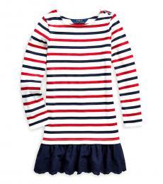 Ralph Lauren Little Girls Clubhouse Cream Striped Jersey Dress
