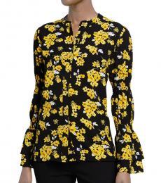 Michael Kors Yellow Printed Smock Sleeve Blouse