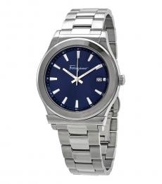 Salvatore Ferragamo Silver Blue Dial Watch