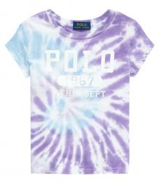 Ralph Lauren Girls Purple Multi Tie-Dye T-Shirt