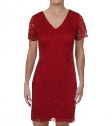 Ralph Lauren Red Petite Lace Mini Dress